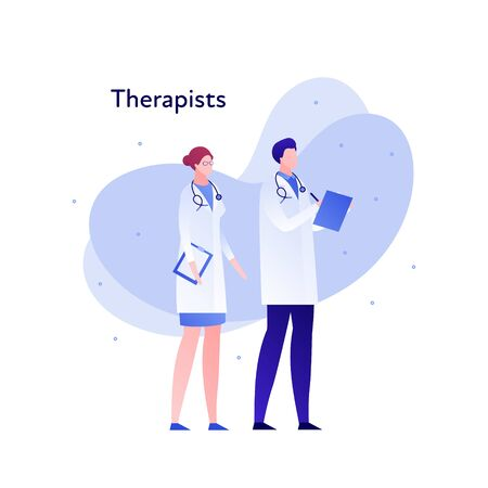Vector modern flat doctor character illustration. Couple of male female therapist on memphis amoeba background on white. Design element for medical banner, poster, infographics, hospital, clinic Illustration
