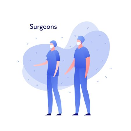 Vector modern flat doctor character illustration. Couple of man woman surgeon on memphis amoeba background on white. Design element for medical banner, poster, infographics, hospital, clinic