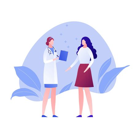 Vector modern flat doctor and patient character illustration. Female medic and woman on memphis amoeba background on white Design element for gynecology, banner, poster, infographics, hospital, clinic