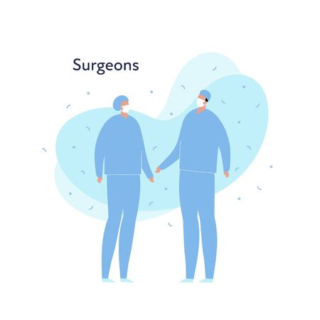 Vector modern flat doctor profession person illustration. Surgeons in mask talking. Memphis fluid shape isolated on white background. Design element of surgery department Stock Illustratie