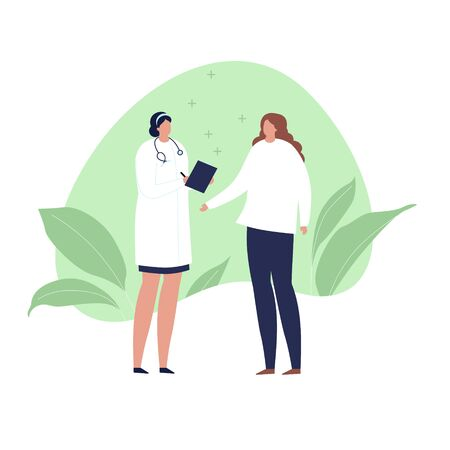 Vector modern flat doctor and patient illustration. Medic with stethoscope and female talk on green fluid shape with leaf isolated on white background. Design element healtcare, medical clinic.