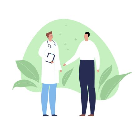 Vector modern flat doctor and patient illustration. Medic with stethoscope and male consulting on green fluid shape with leaf isolated on white background. Design element healtcare, medical clinic. Stock Illustratie