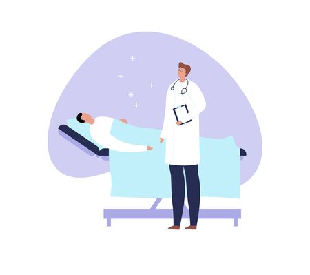 Vector modern flat doctor and patient illustration. Medic talking with laying male on the hospital bed on blue liquid shape isolated on white background. Design element healtcare, medical clinic.