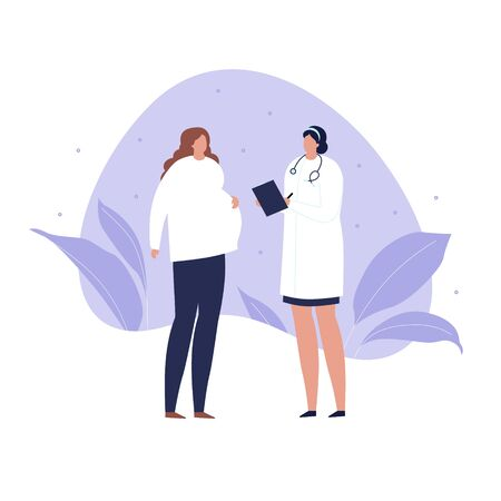 Vector modern flat doctor and patient illustration. Female medic talking with pregnant woman on blue liquid shape isolated on white background. Design element healtcare, medical clinic, gynecology