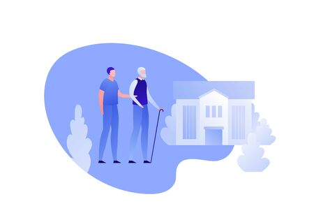 Vector modern flat nursing house person illustration. Couple of male elderly senior and caregiver on home building outdoor background on white. Design character element for banner, poster.