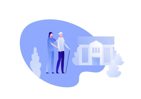 Vector modern flat nursing house person illustration. Couple of female elderly lady and carer on home building outdoor background on white. Design character element for banner, poster. Illusztráció