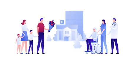 Vector modern flat nursing house person illustration. Big family meet grandmother sitting on wheelchair on home building outdoor background on white. Design character element for banner, poster.