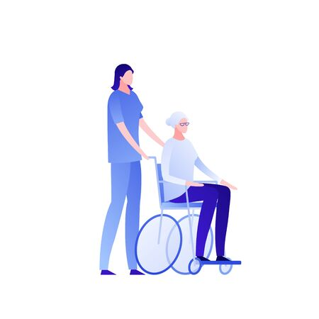Vector modern flat nursing house person illustration. Couple of woman elderly lady sitting on wheelchair and caregiver isolated on white Design character element for banner, poster. Disability concept