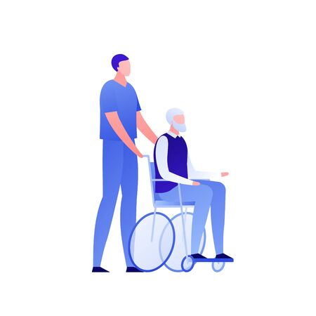 Vector modern flat nursing house person illustration. Couple of male elderly senior sitting on wheel chair and caregiver isolated on white background. Design character element for banner, poster.