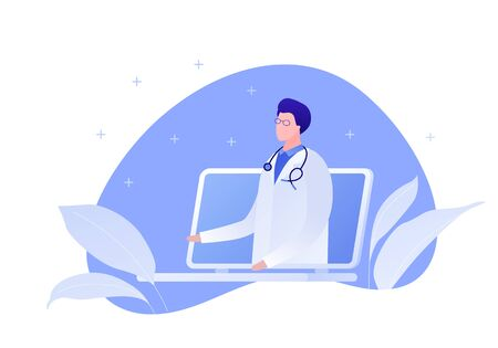 Vector modern flat online doctor illustration. Laptop with man doctor on blue fluid shape with leaf isolated on white background. Design for web clinic, hospital, service, diagnostic, advertisment