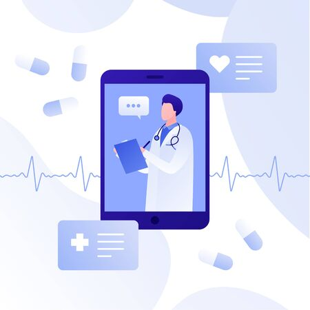 Vector modern flat online doctor illustration. Smartphone app with male doctor, pills and heart on white background. Design for web clinic, hospital, service, diagnostic, advertisment