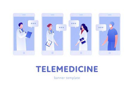 Plantilla de banner de médico plano en línea moderno de vector. Conferencia de médico de smartphone sobre fondo blanco. Diseño para clínica web, hospital, servicio, diagnóstico, publicidad, telemedicina Ilustración de vector