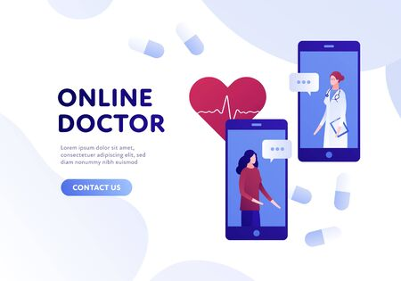 Vector modern flat online doctor banner template. Smartphone with female doctor and patient, pills and heart on white background. Design for web clinic, hospital, service, diagnostic, advertisment