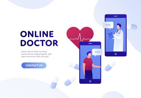 Vector modern flat online doctor banner template. Smartphone with male doctor and patient, pills and heart on white background. Design for web clinic, hospital, service, diagnostic, advertisment