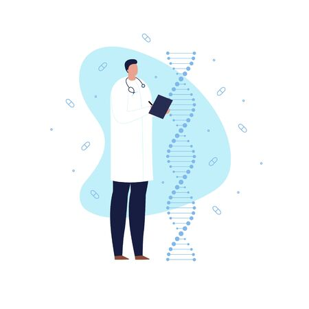 Vector gene engineering modern banner. DNA spiral male doctor scientist on amoeba shape background isolated on white. Concept of gene cure therapy, future treatment, genetical research.