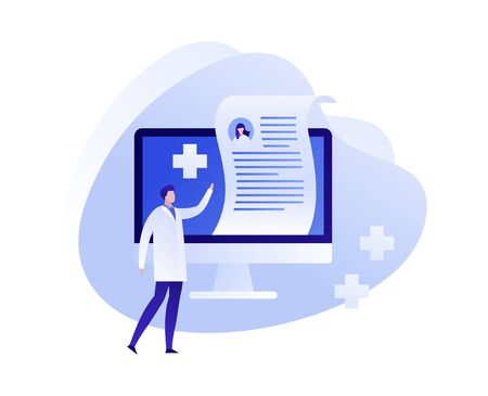 Vector flat online medicine illustration. Doctor with computer screen with prescription and pills symbols. Concept of pharmacy drugstore, diagnosis, hospital. Design for poster, flyer, card, banner