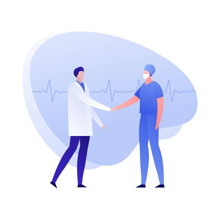 Vector flat doctor team person illustration. Therapist and surgeon handshake on heartbeat shape background. Concept of cooperation, conference. Design element for poster, flyer, card, banner Illustration