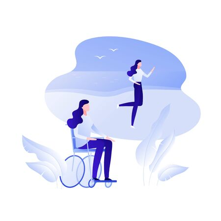 Vector flat disabled person in wheelchair illustration. Female in wheel chair dream about running on beach backgroud. Concept of rehabilitation, fulllife Design element for poster, flyer, card, banner