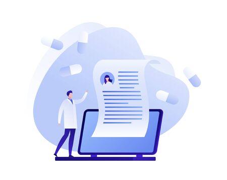 Vector flat online medicine illustration. Doctor on laptop with prescription and pills symbols. Concept of pharmacy drugstore, diagnosis, home hospital. Design medical for poster, flyer, card, banner Ilustração