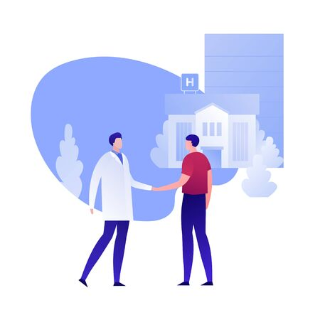 Vector flat doctor and patient person illustration. Medic and male handshake on hospital building background. Concept of cooperation, meeting, checkup. Design element for poster, flyer, card, banner Illustration