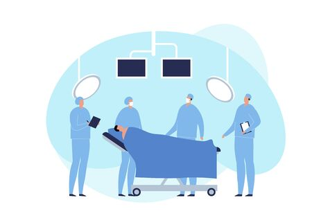 Vector modern flat surgery illustration. Surgeon with patient on coach in operating room with monitor and lamp on fluid shape background. Design element for medicine web, ui, poster, banner. Banque d'images - 133406639