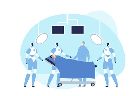 Vector modern flat robotic surgery illustration. Surgeon and robot with patient in operating room with monitor and lamp on white background. Design element for medicine web, ui, poster, banner.
