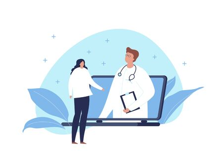 Vector modern flat online medicine banner template illustration. Doctor standing in pc screen and talking with woman patient on fluid blue shape on white. Design for web, hospital, clinic, infographic