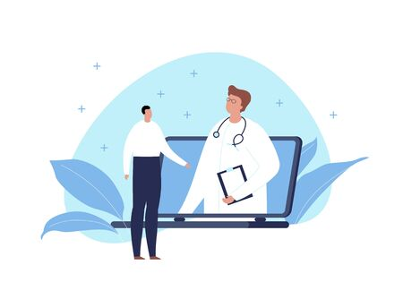 Vector modern flat online medicine banner template illustration. Doctor standing in pc screen and talking with male patient on fluid blue shape on white. Design for web, hospital, clinic, infographic