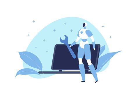 Vector modern flat robot engineer character illustration. Android with wrench and laptop on blue shape background with leafs on white. Concept of future engineering. Design element for web, banner Illustration