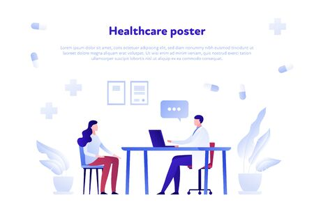 Vector flat doctor and patient person illustration. Medic and female sitting in hospital office background. Concept of diagnosis, meeting, checkup. Design element for poster, flyer, card, banner