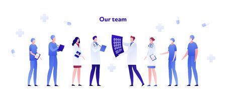 Vector flat doctor team medical person illustration. Male and female characters of radiology, surgery department nurses and therapist. Design element for poster, flyer, card, banner