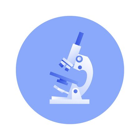 Vector flat science medical equipment illustration. Laboratory microscope instrument in blue circle frame isolated on white background. Design icon element for poster, flyer, card, banner