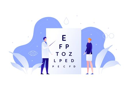 Vector flat oculist doctor illustration. Male optician optometry patient woman on white. Concept of eye ill diagnosis, checkup, disease prevention. Design element for poster, flyer, card, banner