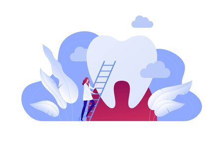 Vector flat dentist doctor illustration. Female on stairway and huge tooth background isolated on white. Concept of dental ill diagnosis. Design element for poster, flyer, card, banner