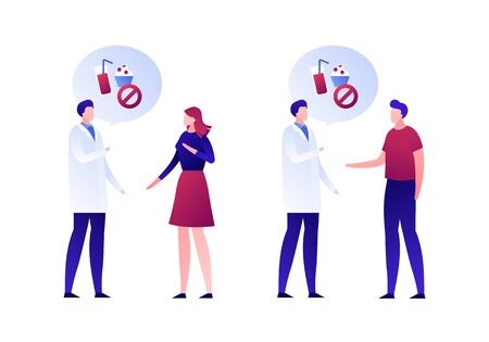 Vector flat nutrionist consultation character illustration. Male and female patient talk with dietologist isolated on white. Concept of sugar free health food. Design element for banner, poster, web