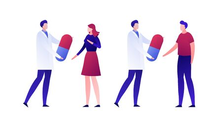 Vector flat doctor patient illustration. Set of medic person holding pill isolated on white background. Concept of family therapy, pharma healthcare. Design element for poster, flyer, card, banner, ui Ilustração