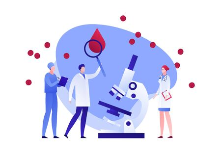 Vector flat blood laboratory character illustration. Medic team with magnifier and microscope study blood drop cell. Concept of dna, hiv diagnosis. Design element for poster, flyer, card, banner, ui