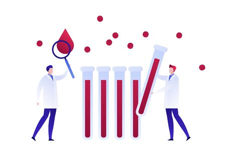 Vector flat blood laboratory character illustration. Medic team with magnifier and vial study blood drop cell. Concept of dna, hiv diagnosis. Design element for poster, flyer, card, banner, ui Ilustração