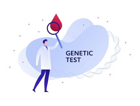 Vector flat blood laboratory character illustration. Male doctor with magnifier and blood drop on fluid background. Design element template for poster, flyer, card, banner, ui, presentation
