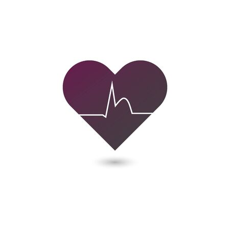 Vector flat heart attack icon illustration. Gradient purple to black heart with heartbeat isolated on white background. Concept of cardiovascular diseases, infraction. Design element