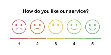 Element of UI design for client service rating. Set of the outline smiles with different emotions from sad to happy. Emoticons with five moods: disgruntled, angry, calm, excited, satisfied.