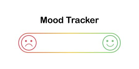 Scale of mood with outline emoticons. Angry and happy in progress bar. Sad and happy feelings on smiles. Mood tracker for checking mental disorders like bipolar disorder or depression.