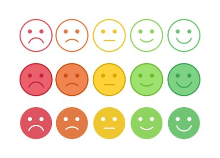 Vector icon set of the colorful emoticons with different mood. Smiles with five emotions: dissatisfied, sad, indifferent, glad, satisfied. Element of UI design for estimating client assessment.