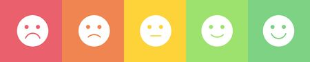 Vector flat horizontal mood feedback tracker. White cut out emoji with five emotions: dissatisfied, sad, indifferent, glad, satisfied. Element of UI design for estimating client service.
