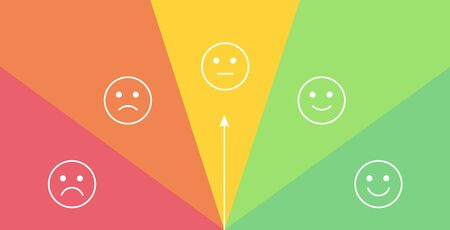 Vector mood feedback meter with selection by rotation arrow. Face with five emotions: angry, sad, neutral, glad, happy. Element of UI design for estimating client service.