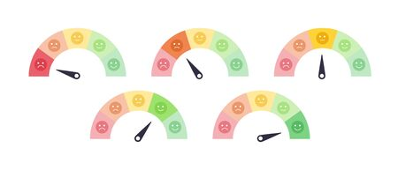 Vector mood feedback meter set with arrow selection. Face with five emotions: dissatisfied, sad, indifferent, glad, satisfied. Element of UI design for estimating client service.