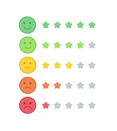 Vector icon set of the colorful emoji with star shaped progress bar. Smiles with five emotions: dissatisfied, sad, indifferent, glad, satisfied. Design for estimating client assessment, web, ui.