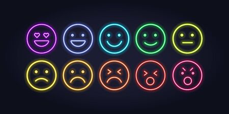 Vector neon icon set for mood tracker. Ten scale of color lamp glowing emotion smiles from dissappoited to happy isolated on black. Emoticon element of UI design for client rating, feedback, survey