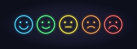 Vector neon icon set for mood tracker. Five color lamp illuminated emotion smile from satisfied to anger isolated on black. Emoticon element of UI design for client rating, feedback, survey