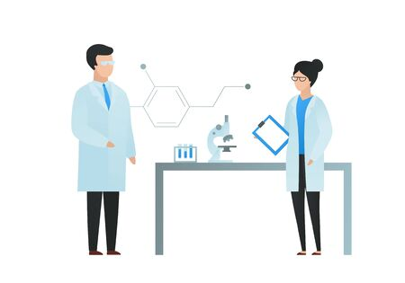 Trendy flat scientist character vector illustration. Set of cartoon male and female science team standing in laboratory with table, microscope, test tube, and molecula formula sign. Design element.